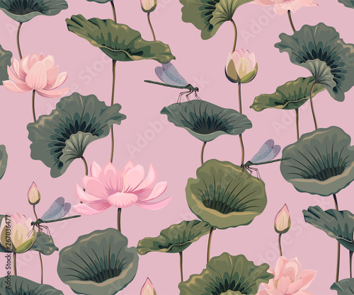 Photographie  seamless pattern with lotuses and dragonflies