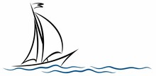 A Symbol Of The Blue Sailing Vessel With A Wave.