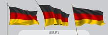 Set Of Germany Waving Flag On Isolated Background Vector Illustration