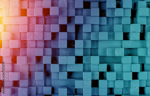 Poster de jardin Individuel Glowing black blue and orange squares background pattern 3D rendering