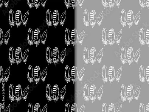 Mockingjay feather seamless pattern hand drawn sketch Fototapet