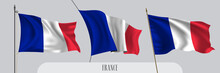 Set Of France Waving Flag On I...