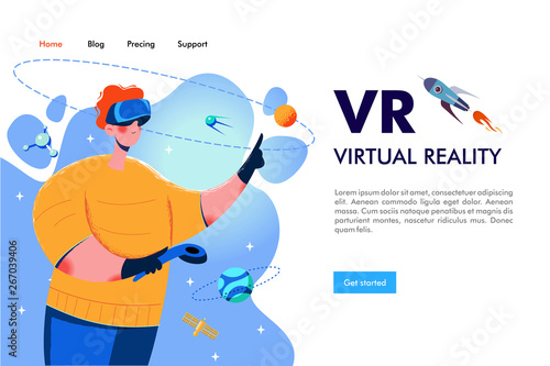A man wearing virtual reality glasses. Adventures in outer space. Vector illustration.