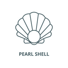 Pearl Shell Vector Line Icon, Outline Concept, Linear Sign
