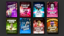 Collection Of Comedy Show Poster Cards Set Vector. Microphones, Bright Confetti, Multicolored Curtains Depicted And Calligraphy Text On Poster. Humorous Leisure Time In Club Realistic 3d Illustration