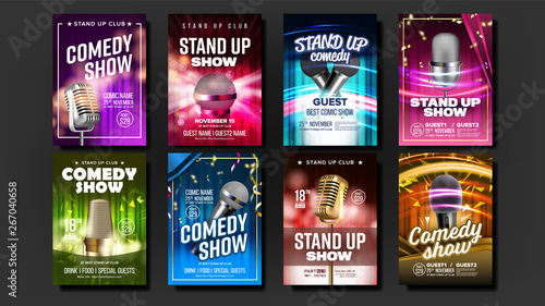 Obraz na płótnie Collection Of Comedy Show Poster Cards Set Vector