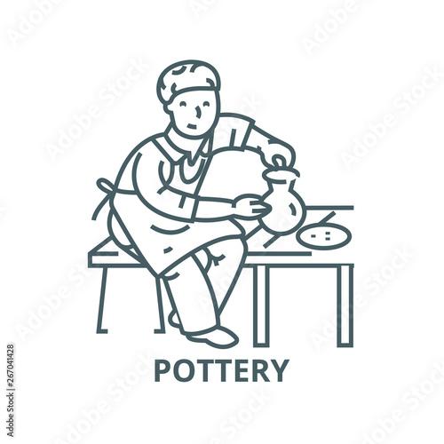 Canvas Pottery,potter,ceramist vector line icon, outline concept, linear sign