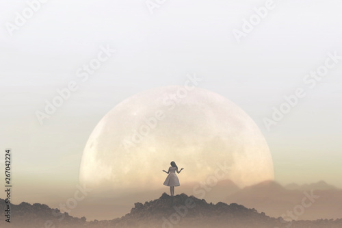 Fotomural  woman meditates in front of a giant moon