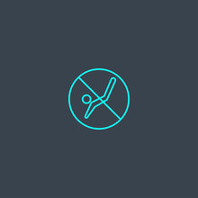 No Diving Concept Blue Line Icon. Simple Thin Element On Dark Background. No Diving Concept Outline Symbol Design From Beach Set. Can Be Used For Web And Mobile UI/UX