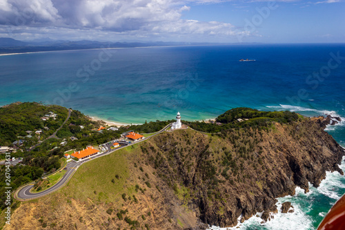 Stampa su Tela aerial view of Wategoes Beach at Byron Bay with lighthouse