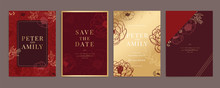 Chinese Red And Gold Wedding Invitation, Floral Invite Thank You, Rsvp Modern Card Design In White Rose With Red Berry And Leaf Greenery  Branches Decorative Vector Elegant Rustic Template