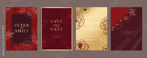Chinese Red and Gold Wedding Invitation, floral invite thank you, rsvp modern ca Fototapete