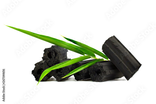 Canvas Print Natural wood charcoal,Bamboo charcoal powder has medicinal properties with tradi
