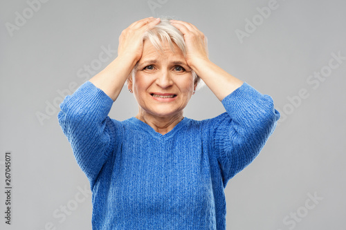 Fotografie, Obraz  stress, emotions and old people concept - portrait of stressed senior woman in b