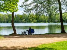 Auszeit Beim Angeln Am Teich