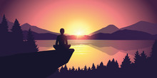 Person Enjoy The Silence At Purple Mountain Nature Landscape By The Lake At Sunset Vector Illustration EPS10