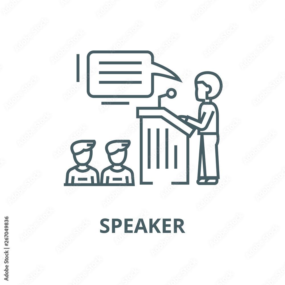 Fototapeta Speaker,presentation,podium tribune stand vector line icon, outline concept, linear sign