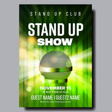 Stylish Poster Of Stand Up Show In Club Vector. Chrome Microphone, Green Curtain And Light Bubbles Due Spotlight On Poster With Information Artists Name. Humorous Concert Realistic 3d Illustration