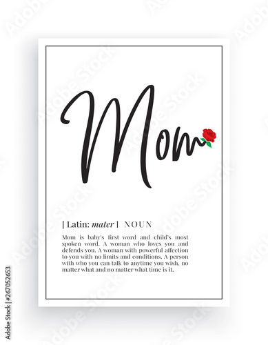 Minimalist Wording Design, Mom definition, Wall Decor, Wall Decals Vector, Mom n Canvas Print