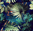 canvas print picture - Seamless pattern with tropical leaves and  geometric shapes. Tropical  background.