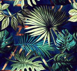 Naklejka Do sypialni Seamless pattern with tropical leaves and geometric shapes. Tropical background.