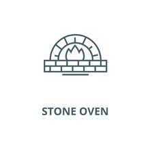 Stone Oven Vector Line Icon, O...