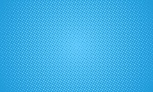 Halftone Dots On Blue Background. Comic Pop Art Style Blank Layout. Template Design For Comic Book, Presentation, Sale Or Web Banner.