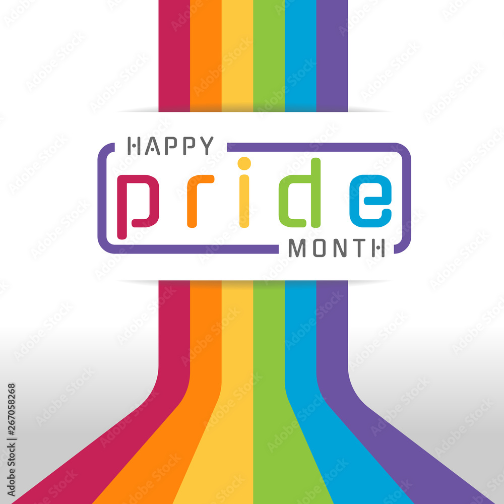 Fototapeta Happy pride month banner with typography text on line colorful rainbow Bend up vector design
