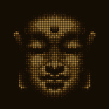 Abstract Illustration Buddha Face With Yellow Gold Colored Circles Bubbles On Black Background Texture Vector Design