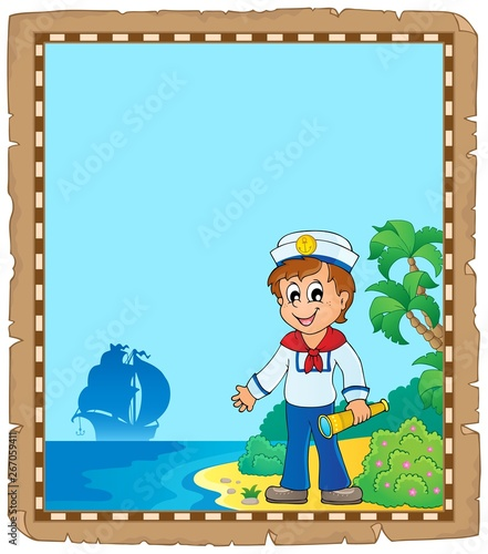 Printed kitchen splashbacks For Kids Parchment with young sailor