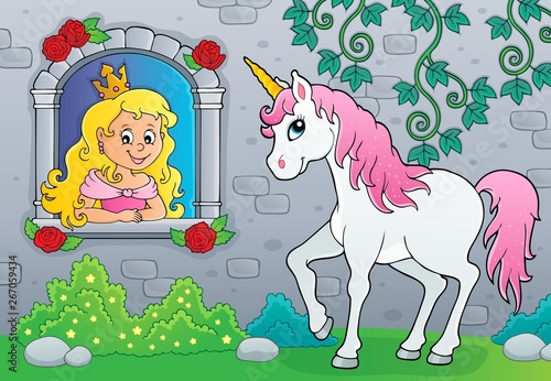 Printed kitchen splashbacks For Kids Princess in window and unicorn theme 2