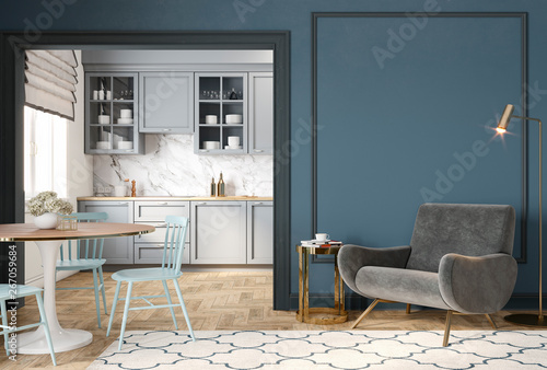Fototapeta Modern classic blue gray interior with lounge chair, armchair, kitchen, dining table, carpet, floor lamp and mouldings. 3d render illustration mock up. obraz na płótnie
