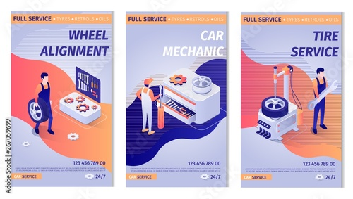 Set of Lettering Advertisements for Service  Posters with