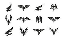 Set Of Black Heraldic Eagle Symbols On White Background.