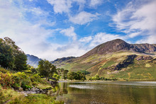 Lake Buttermere, Hay Stacks And High Stile, Lake District National Park, Cumbria, England, UK