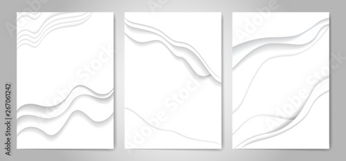 Carta da parati Abstract white paper cut background vector illustration