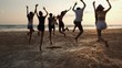 Asian teen group jumping together at beach summer with sunset background. Young asia happy emotion and anniversary celebration. 4K resolution and slow motion.