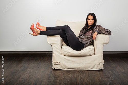 Lounging on a couch