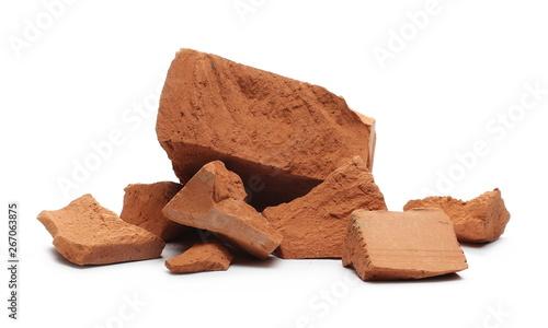 Valokuvatapetti Shattered, broken bricks isolated on white background