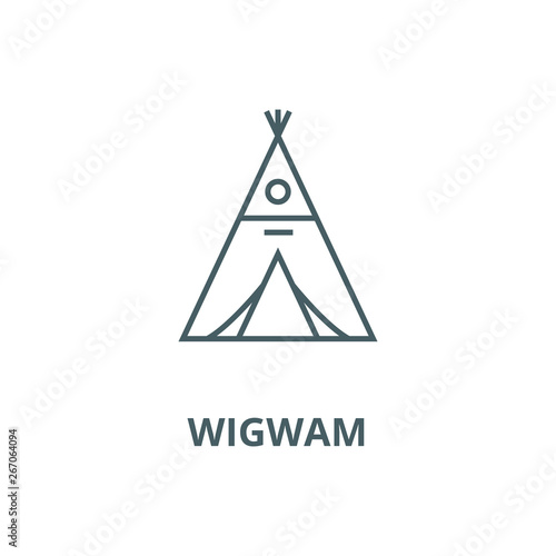 Photo Wigwam vector line icon, outline concept, linear sign