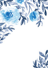 Watercolor Floral Frame In Blu...