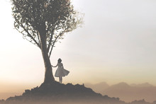 Solitary Woman Under A Tree Looking At A Mystical And Suggestive Landscape