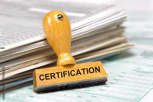Cuadros en Lienzo certification printed on rubber stamp