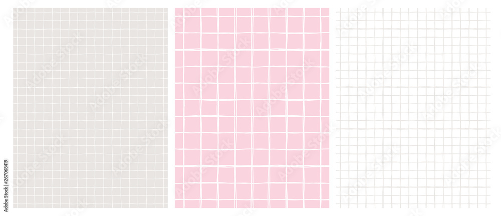 Fototapeta Simple Geometric Vector Pattern with Light Gray Grid on a White Background and  White Grid on a Pink and Gray. Abstract Notepad Paper with Irregular Hand Drawn Blank. Funny Pastel Color Graph Paper.