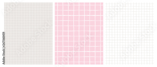 Simple Geometric Vector Pattern with Light Gray Grid on a White Background and White Grid on a Pink and Gray. Abstract Notepad Paper with Irregular Hand Drawn Blank. Funny Pastel Color Graph Paper.