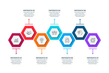 Creative Concept For Infographic With 7 Steps, Options, Parts Or Processes. Business Data Visualization. Vector Business Template For Timeline Presentation.