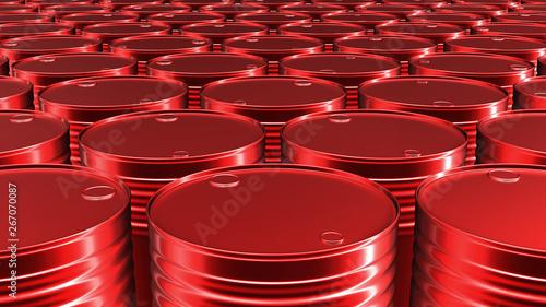Pinturas sobre lienzo  3D render of the red oil or petrol barrels