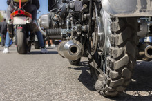 Motorcycle Rear Wheel And Exhaust Pipe