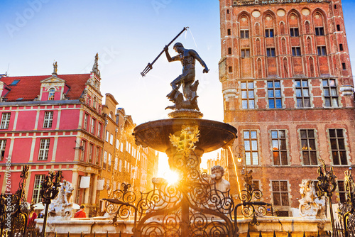 Fotografie, Obraz Poland, Gdansk, Famous Neptune fountain at sunset