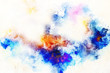abstract color splashes and spots on white background.